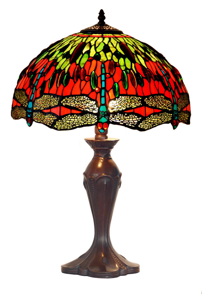 "Large 16"" Dragonfly Style Leadlight Stained Glass Tiffany Table Lamp"