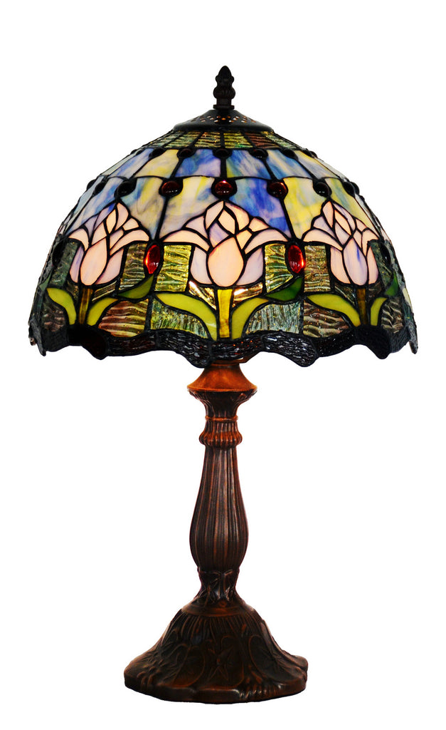 "12"" Blue Tulip Style Tiffany Bedside Lamp"