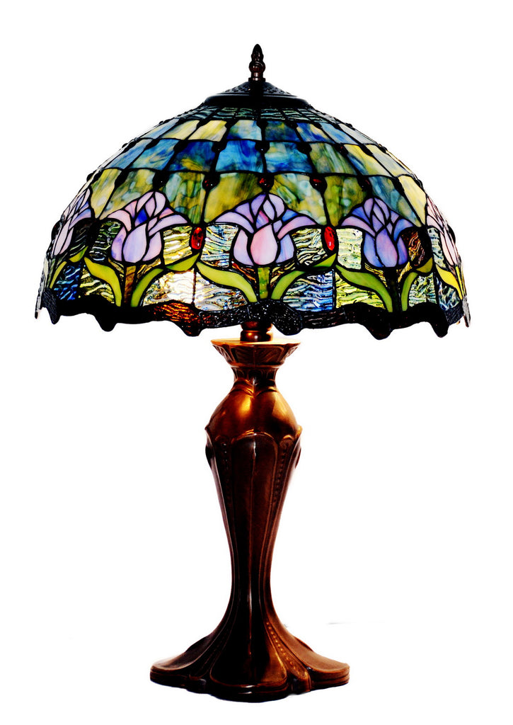 "Large 16"" Tulip Style Leadlight Stained Glass Tiffany Table Lamp"