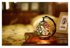 Rose Style Mini Tiffany Stained Glass Night Lamp