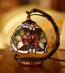 Red Rose  Mini Tiffany Stained Glass Night Lamp