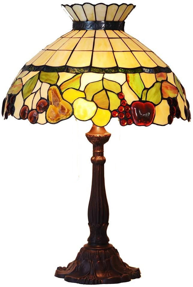 "Huge 18"" Vintage Fruit Crown Style Table Lamp Tiffany Stained Glass Table Lamps@ Limited Stock only"