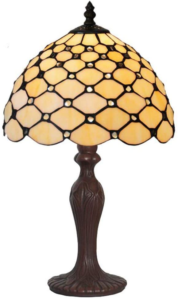 "Elegant 10"" Tiffany Bedside Lamp Cream Stained Glass Crystal Bead Style Table Reading Lamp"