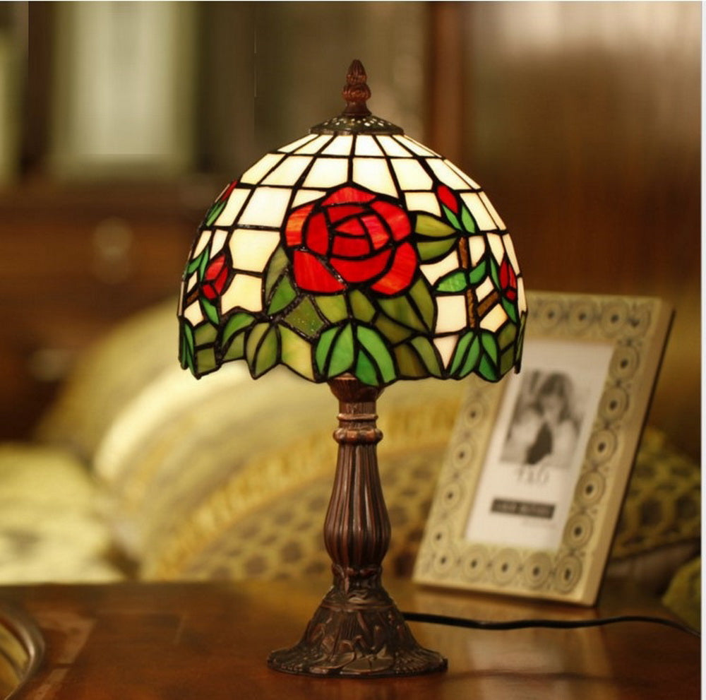 "Elegant  8"" Red Rose Style Tiffany Mini Table Lamp"