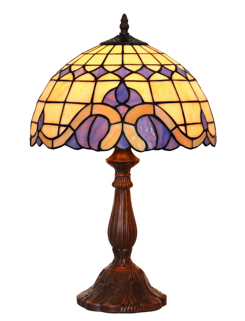 "12""  Purple Baroque Tiffany  Style Tiffany Bedside Lamp"