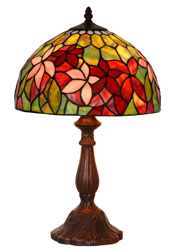 "12""  Magnolia  Flower Style Tiffany Bedside Lamp"