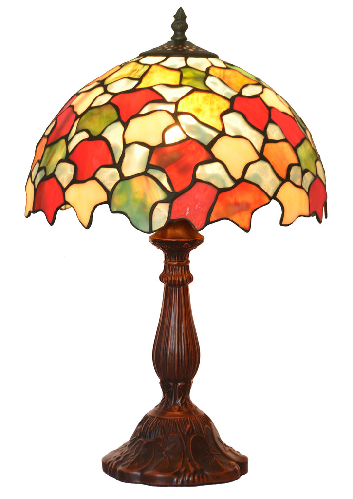 "12"" Autumn Maple Leaf Style Tiffany Bedside Lamp"