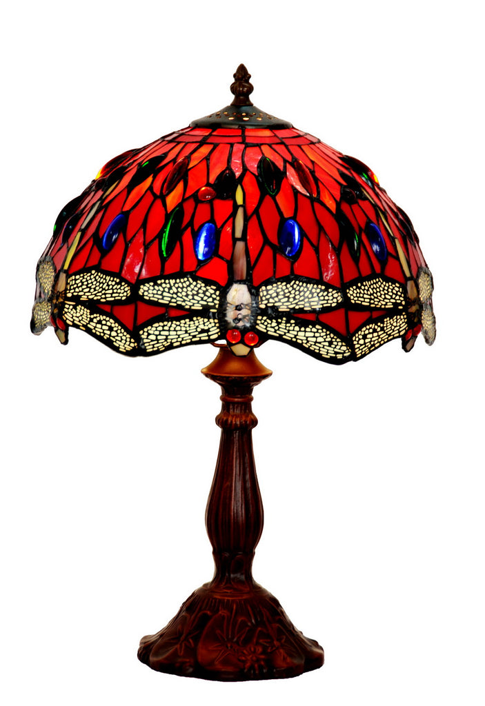 "12""  Classical Red Dragonfly Style Tiffany Bedside Lamp"