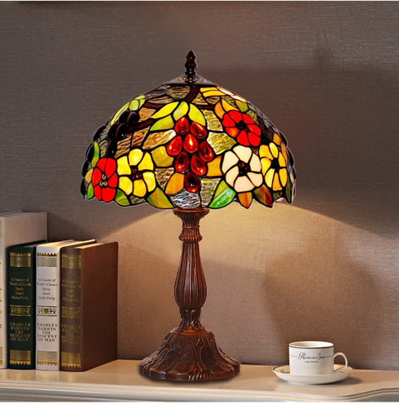 "12"" Grape and Flower Style Tiffany Bedside Lamp"