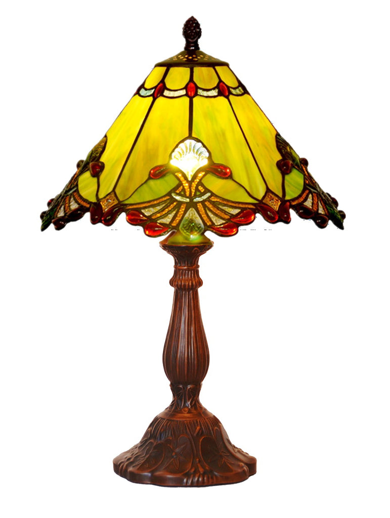 "12"" Green Jewel Carousel Tiffany Bedside Lamp"