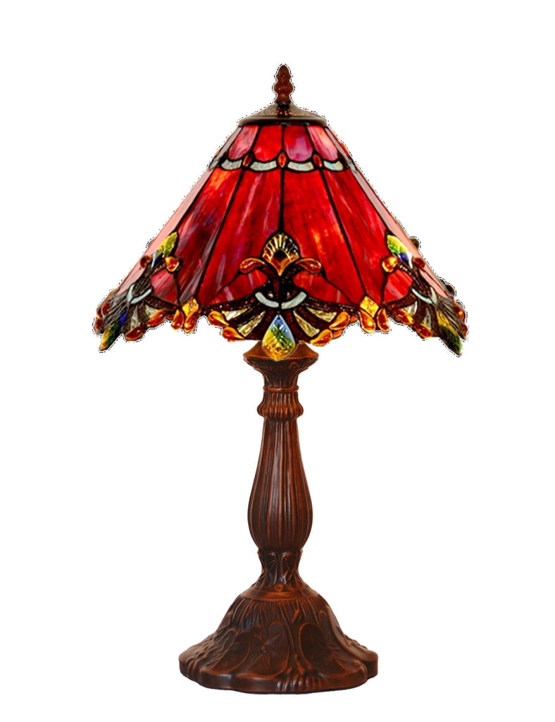 "12"" Red Jewel Carousel Tiffany Bedside Lamp"