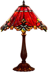 "Limited Edition Large 17"" Red Jewel Carousel Style Tiffany Table Lamp"