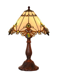"12"" Elegant Jewel Carousel Tiffany Bedside Lamp"