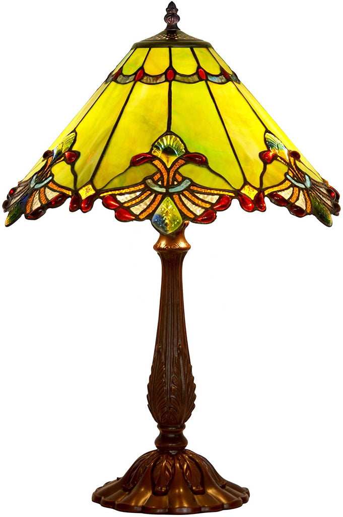 "Limited Edition Large 17"" Green Jewel Carousel Style Tiffany Table Lamp"