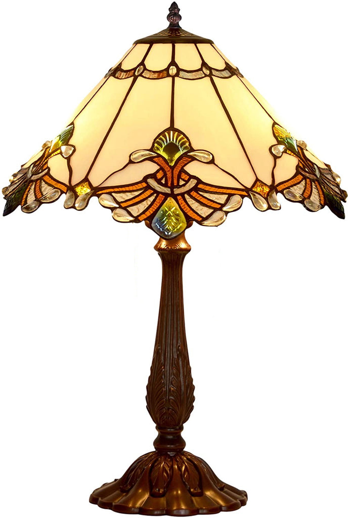 "Limited Edition Large 17"" White Jewel Carousel Style Tiffany Table Lamp"