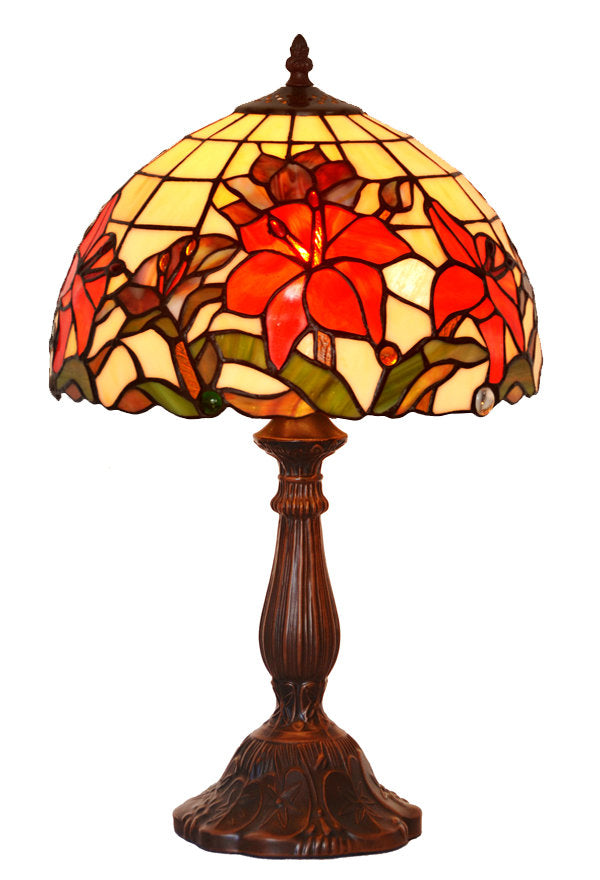 "12"" Fabulous Lily Style Tiffany Bedside Lamp"