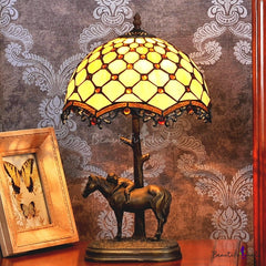 "12""  Unique Beaded Tiffany Bedside Lamp with Antique Style Sculpture Base ""the Horse Boy"""