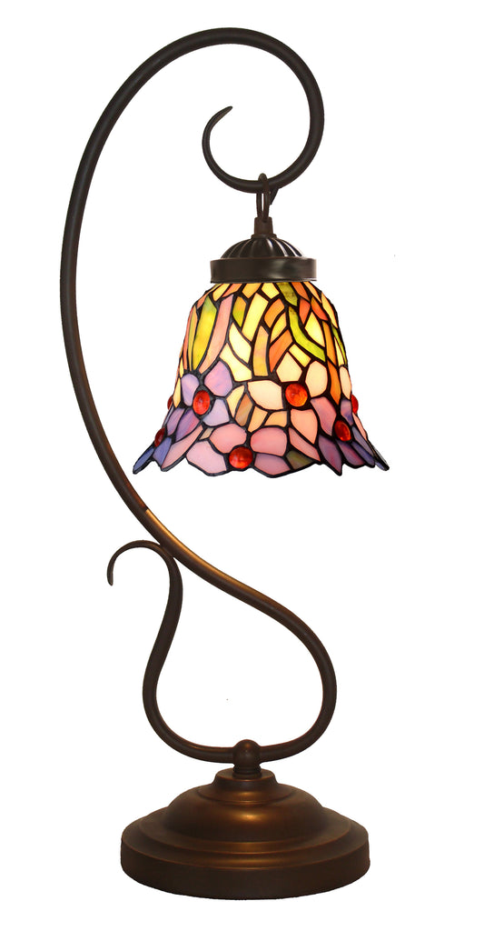 Amazing Iris Flower Tiffany Accent Table Lamp