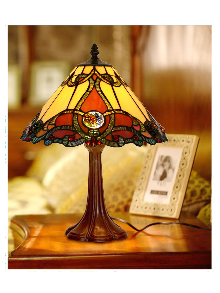 "12"" Jewel Carousel Tiffany Bedside Lamp"
