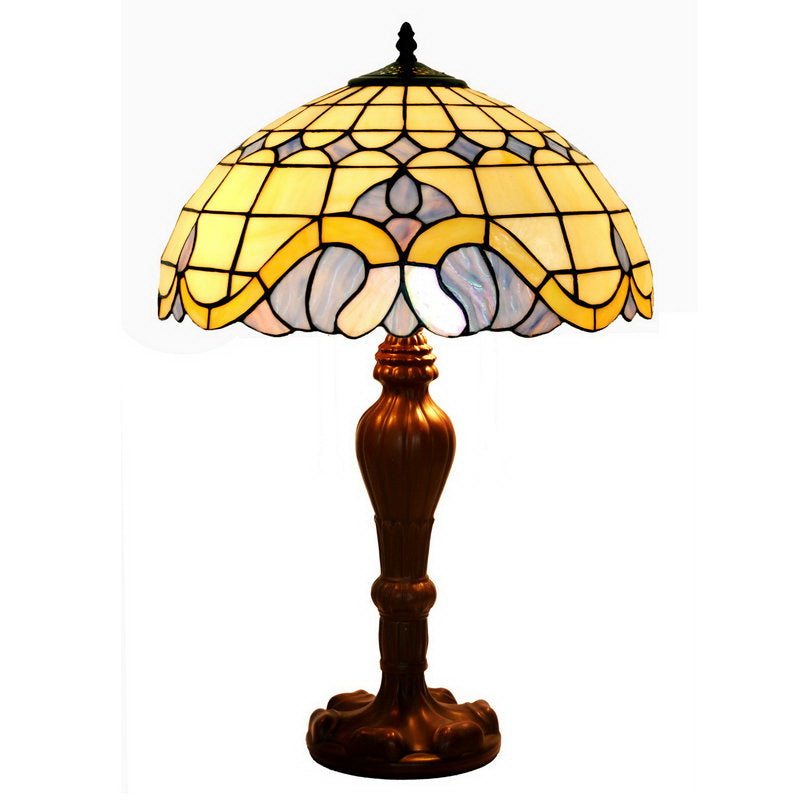 "Large 16"" Mediterranean Style Leadlight Stained Glass Tiffany Table Lamp"