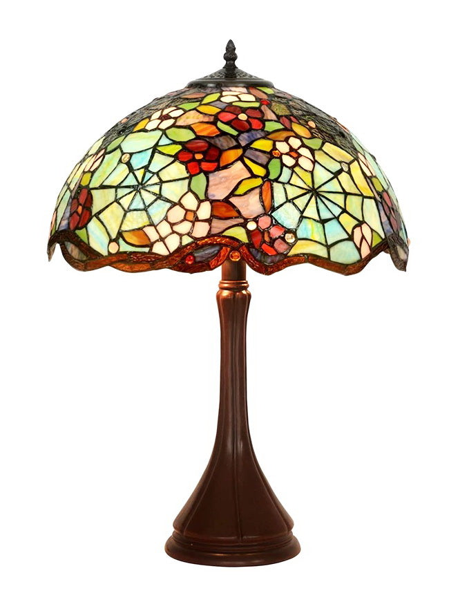 "Legend Collection@Large 16"" Wide Spider Wed Stained Glass Tiffany Table Lamp"