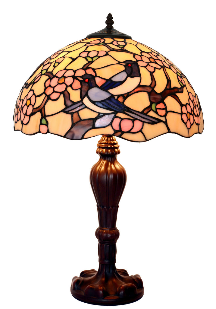 "Large 16""  Magpies Bird  cherry blossom Stained Glass Tiffany Table Lamp"