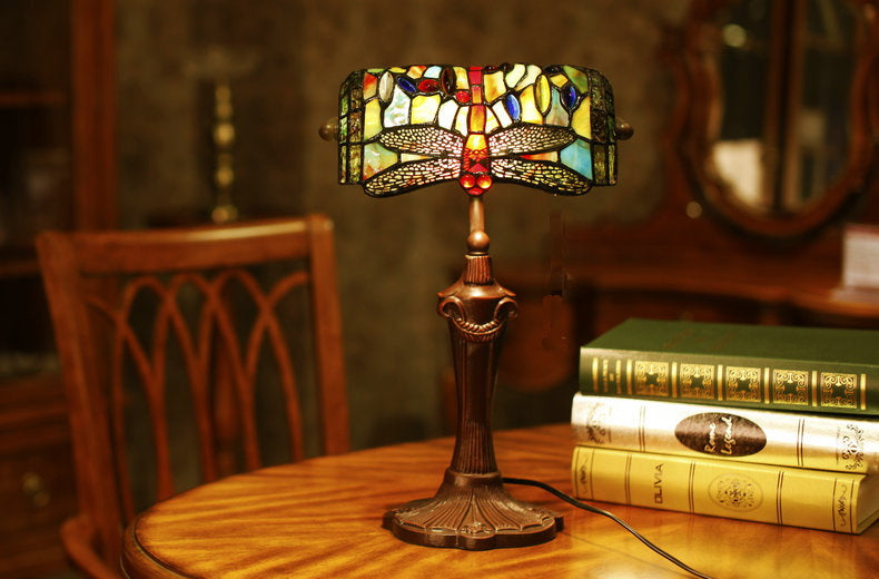 Blue Dragonfly Style Tiffany Banker Lamp