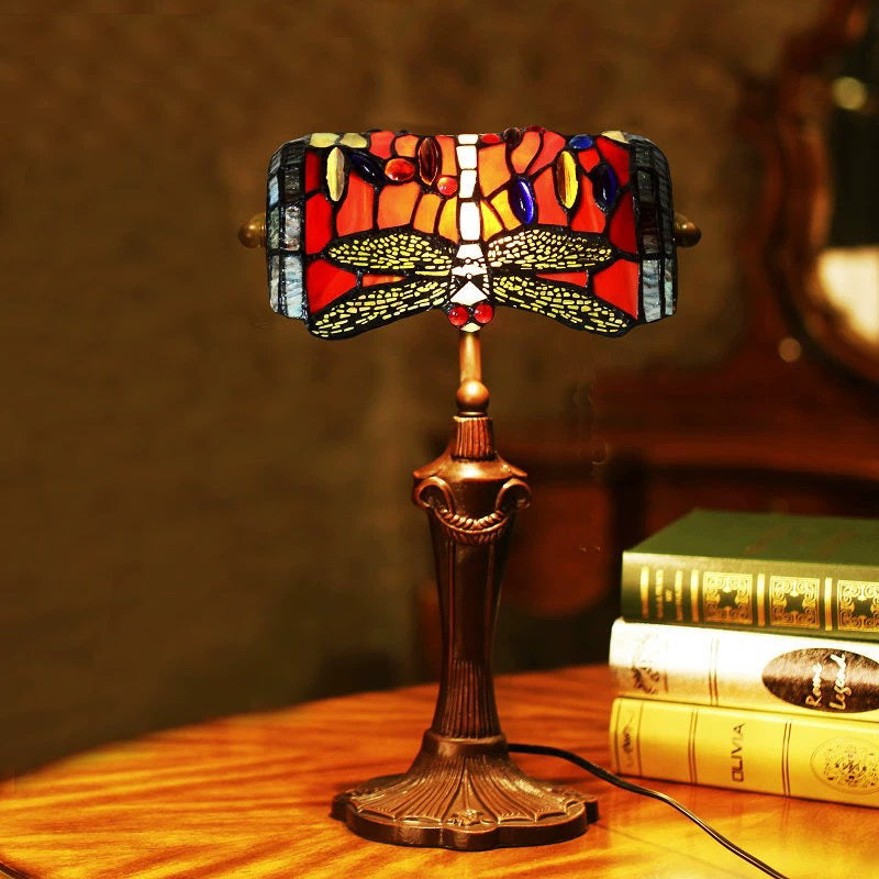 Red Dragonfly Style Tiffany Banker Lamp