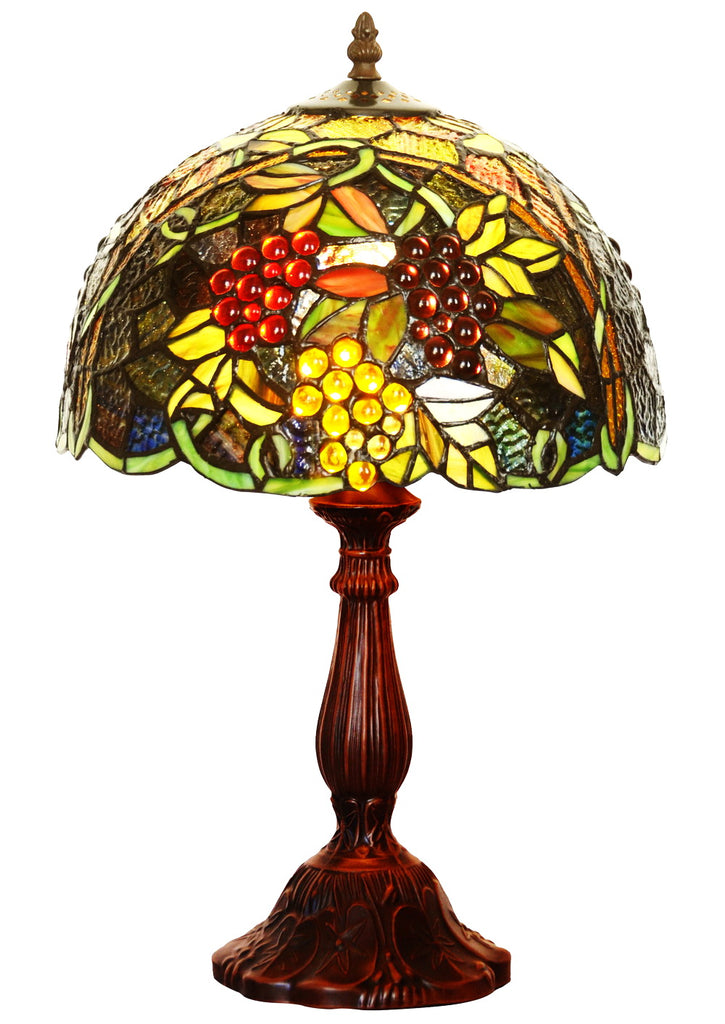 "12"" Amazing Grape Style Tiffany Bedside Lamp"