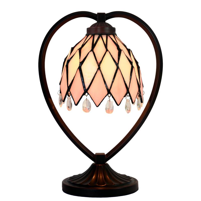 Pink Tiffany Style Stained Glass Table Lamp with Heart-shaped Metal Base
