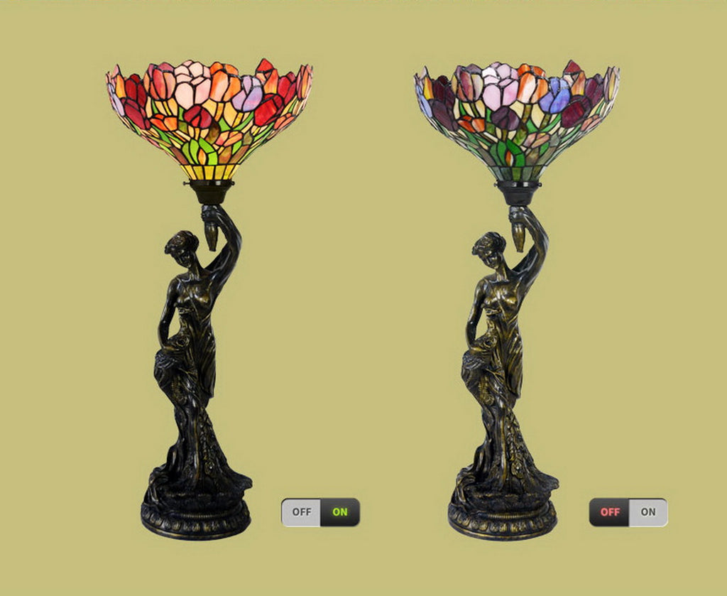 Art Deco Statue Of Liberty Torch Tiffany Stained Glass Red Tulip Accent Table Lamp