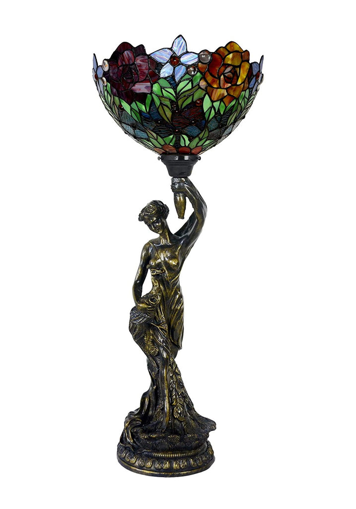 Art Deco Statue Of Liberty Torch Tiffany Stained Glass Red Rose  Accent Table Lamp