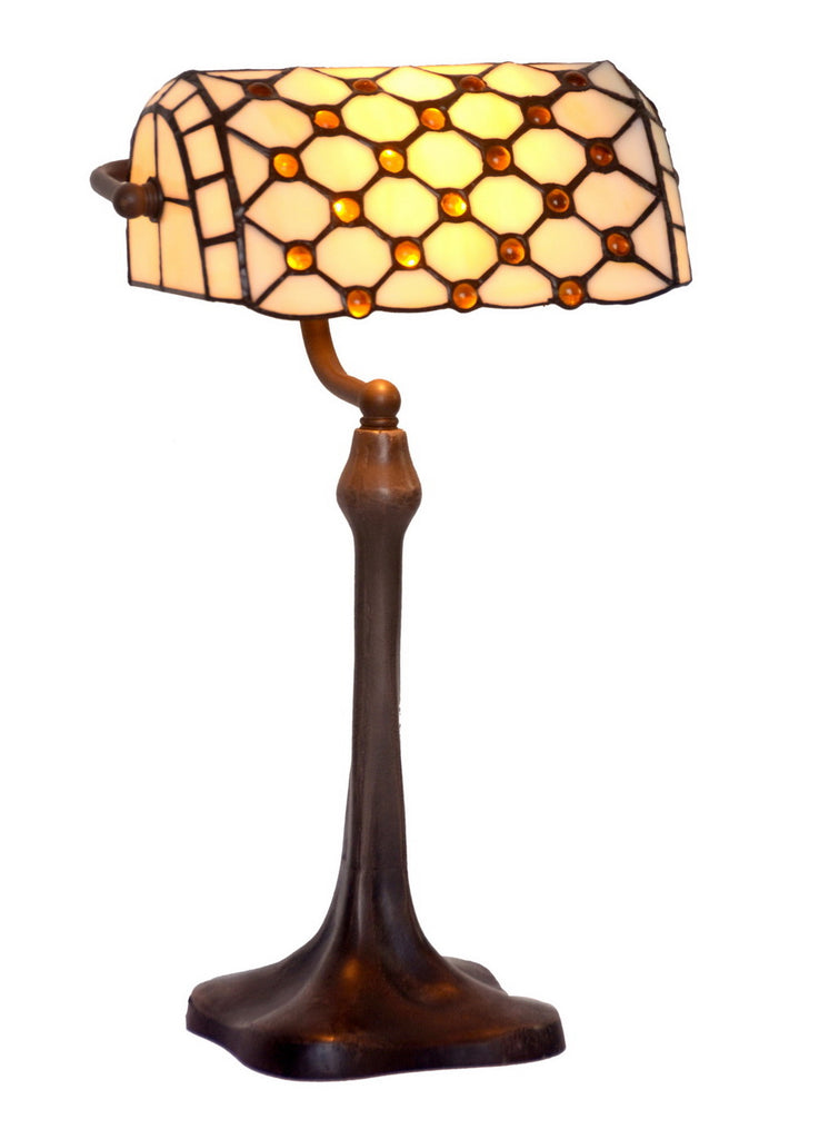 Beaded Tiffany Banker Lamp