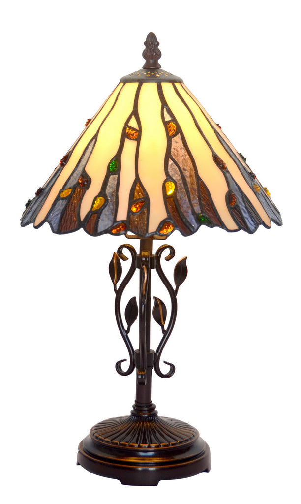 "10"" Curved line design Stained Glass Tiffany Table Lamp with Decor Base"