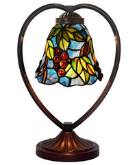 Grape Green Leaf Tiffany Style Stained Glass Table Lamp with Heart-shaped Metal Base