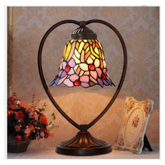 Iris Flower Tiffany Style Stained Glass Table Lamp with Heart-shaped Metal Base