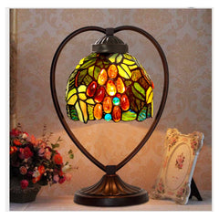 Grape Tiffany Style Stained Glass Table Lamp with Heart-shaped Metal Base