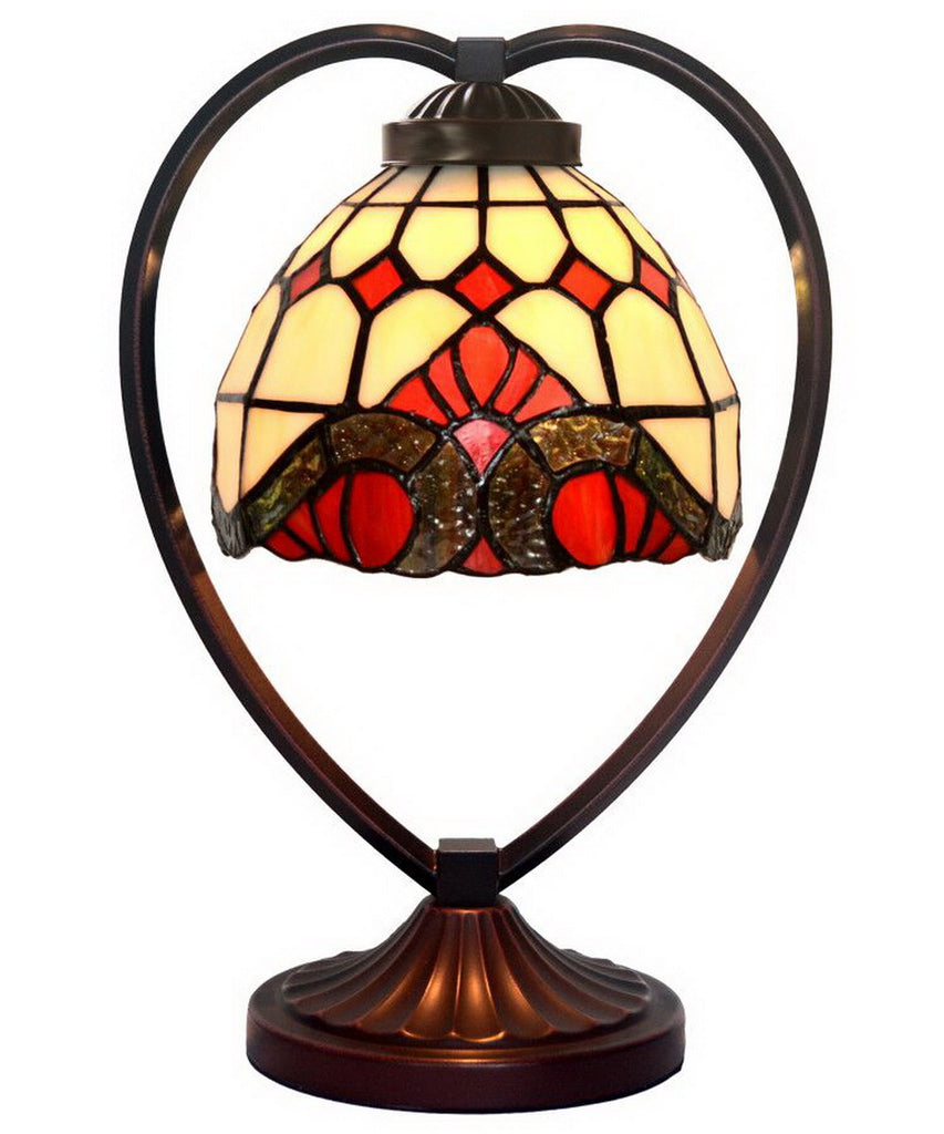 Baroque  Tiffany Style Stained Glass Table Lamp with Heart-shaped Metal Base