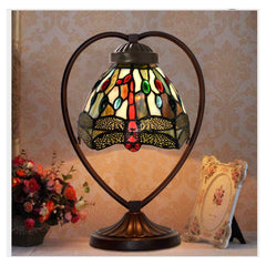 Dragonfly Tiffany Style Stained Glass Table Lamp with Heart-shaped Metal Base