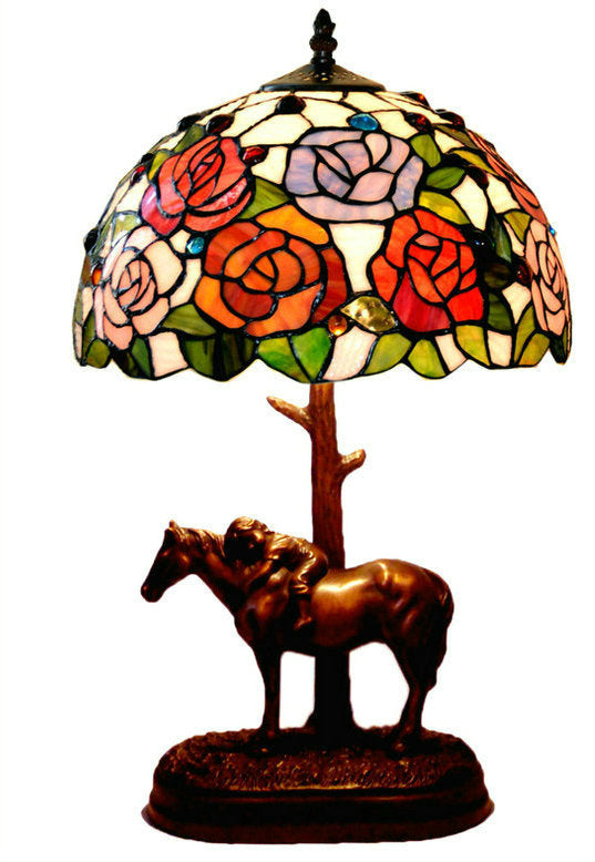 "12"" Rose  Style Tiffany Bedside Lamp with Antique Style Sculpture Base ""the Horse Boy"""