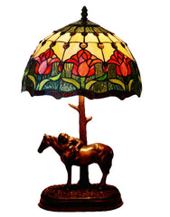"12"" Tulip Style Tiffany Bedside Lamp with Antique Style Sculpture Base ""the Horse Boy"""