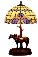 "12"" Mediterranean Style Tiffany Bedside Lamp with Antique Style Sculpture Base ""the Horse Boy"""