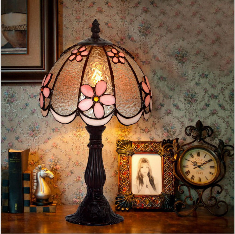 "Amazing 8"" Pink Daisy Style Tiffany Mini Table Lamp"