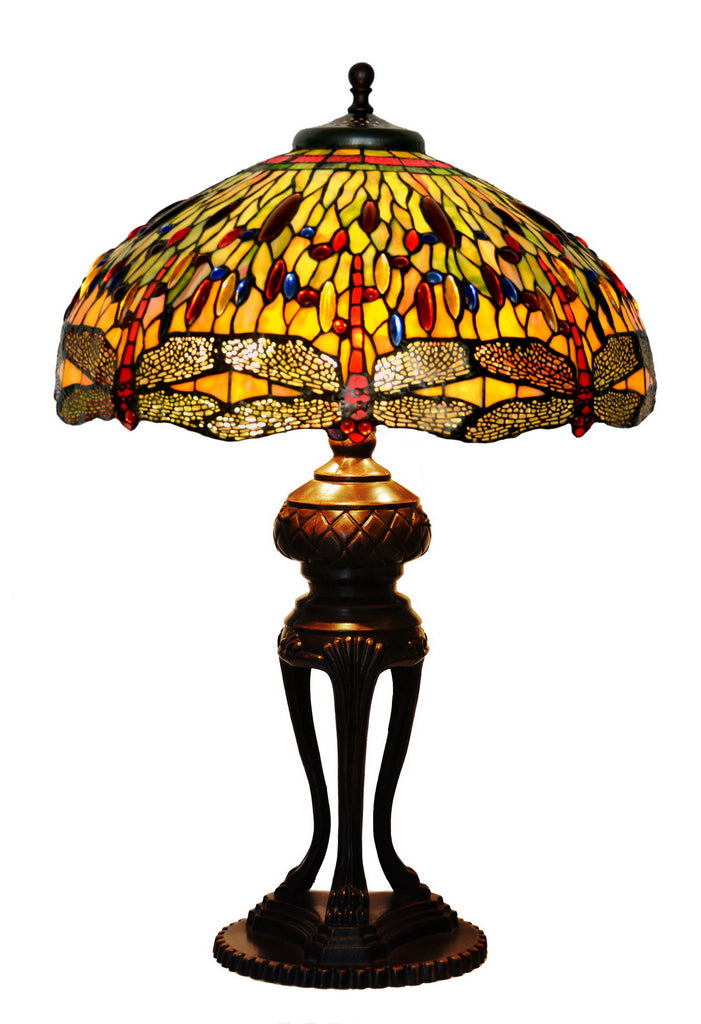 "Huge 20"" Tiffany Reproduction Traditional Dragonfly Table Lamp"