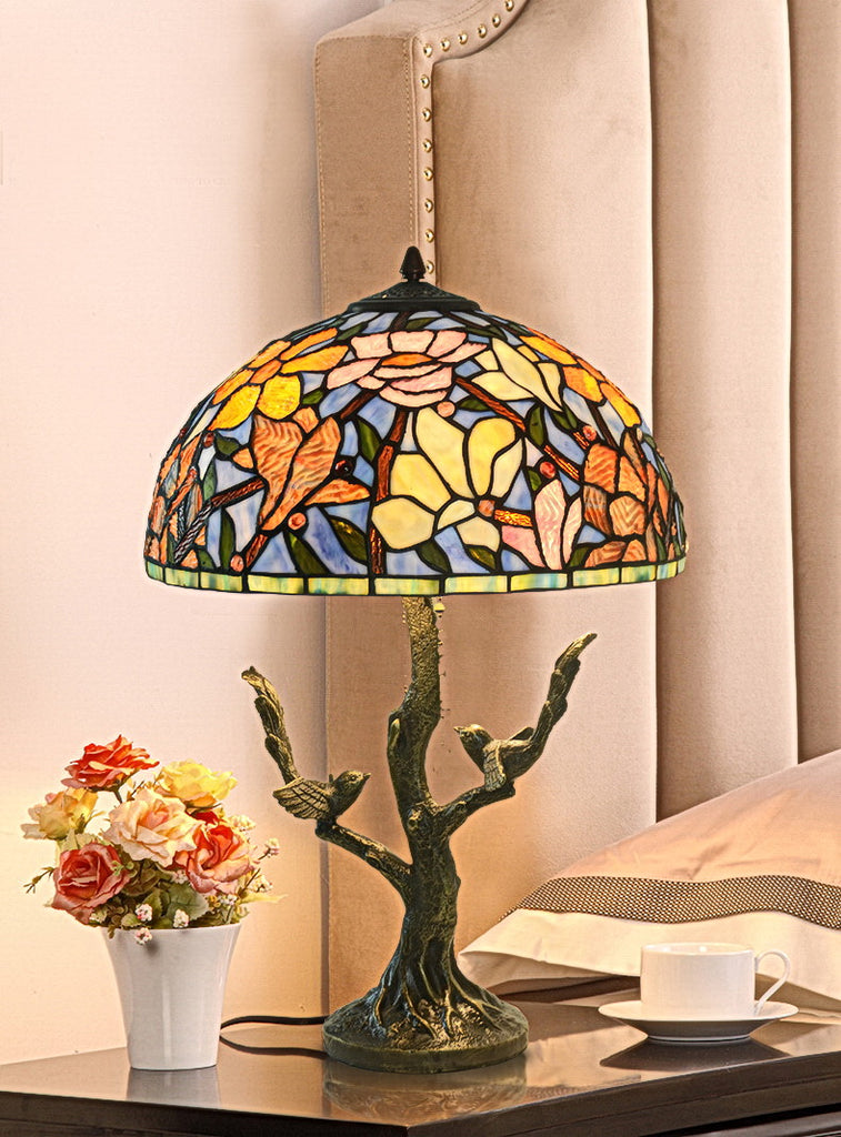 "Large 16"" Magnolia Flower Tiffany Table Lamp with decor base"