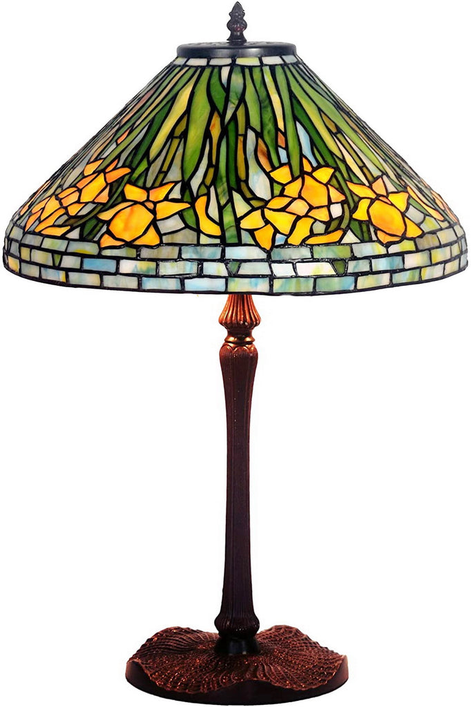 "Legend Collection@Large 16"" Daffodil Flower Stained Glass Tiffany Table Lamp"