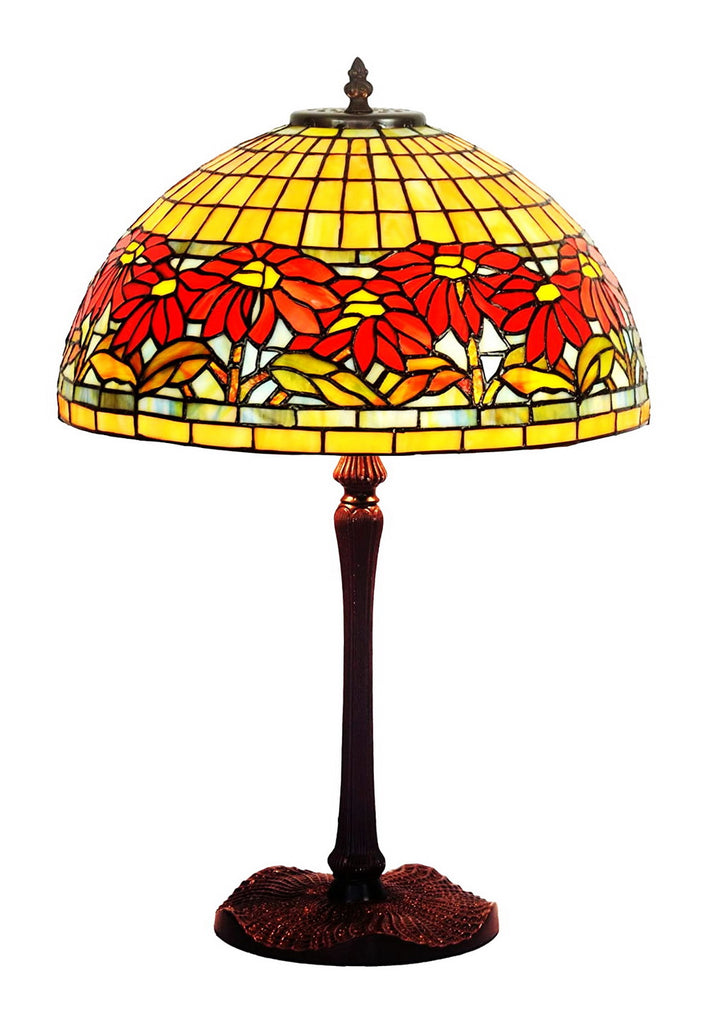 "Legend Collection@Large 16"" Garden Dahlia Flower Stained Glass Tiffany Table Lamp"