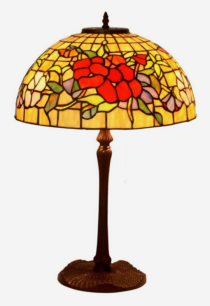 "Legend Collection@Large 16"" Lily Magnolia Stained Glass Tiffany Table Lamp"