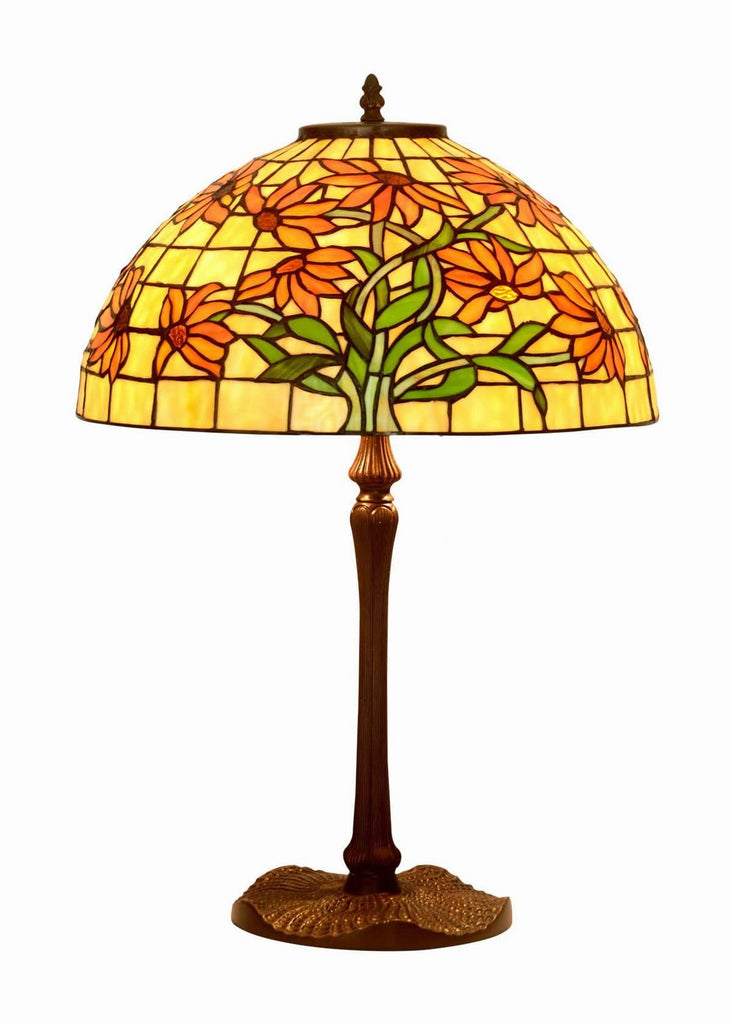 "Legend Collection@Large 16"" Golden Butterfly Marguerite Daisy Stained Glass Tiffany Table Lamp"