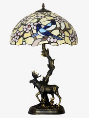 "16"" Large tiffany table lamp Bird plum blossom  Moose Sculpture Base"